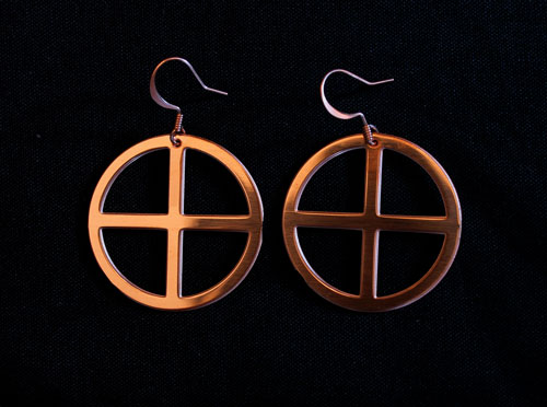 Copper Cross Earrings