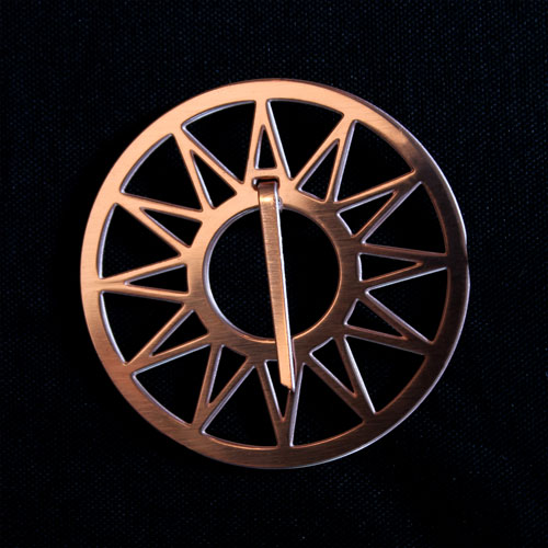 Copper Medium Sun Brooch