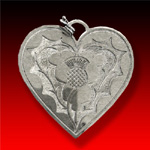 Heart and Thistle trade silver Pendant